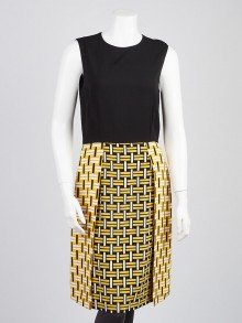 Fendi Black and Lemonade Printed Silk Blend Sleeveless Dress Size 8/42