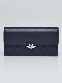 Chanel Navy Quilted Lambskin Leather Urban Companion Flap Wallet