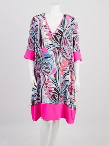 Emilio Pucci Multicolor Abstract Print Silk Blend Dress Size 14/48