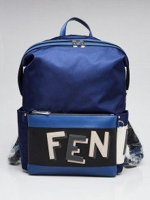 Fendi Blue/Black Nylon Fabric Shadow Logo Backpack Bag 7VZ035