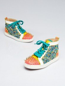 Christian Louboutin Multicolor Leather/Pony Hair/Snakeskin High Top No Limit Sneakers Size 6.5/37