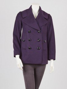 Burberry Purple Wool/Cashmere Blend Peacoat Size 2/36
