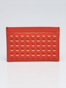 Balenciaga Orange Electriq Studded Leather Card Holder