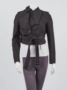 Rick Owens Black Cotton Blend Cropped Trench Jacket Size 2