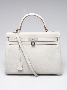 Hermes 35cm Gris Perle Clemence Leather Palladium Plated Kelly Retourne Bag