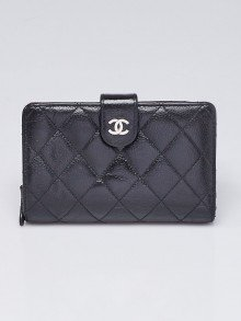 Chanel Black Quilted Caviar Leather French Purse Wallet