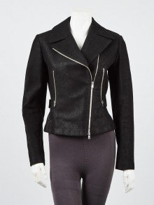 Alaïa Black Ribbed Cotton Biker Jacket Size 8/40
