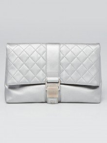 Chanel Silver Quilted Lambskin Leather Grip Clutch Bag
