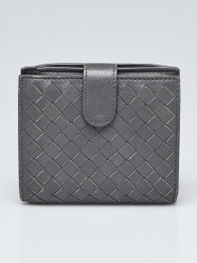 Bottega Veneta Grey Intrecciato Woven Nappa Leather Compact Wallet