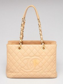 Chanel Beige Clair Quilted Caviar Leather Grand Shopping Tote Bag