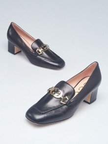 Gucci Black Leather Zumi Mid-Heel Loafers Size 7.5/38