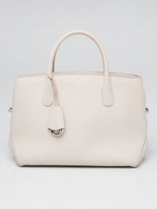 Christian Dior Light Grey Grained Calfskin Large Open Bar Tote Bag
