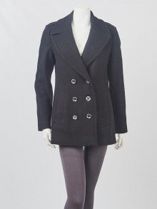 Burberry Black Wool/Cashmere Peacoat Size 6