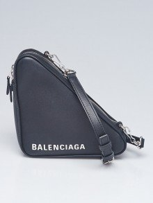 Balenciaga Black Leather XS Triangle Crossbody Bag