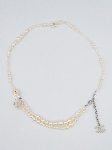 Chanel Glass Pearl Double CC Knot Necklace/Belt