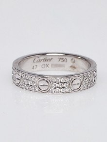 Cartier 18k White Gold and Pave Diamond Wedding Band Size 4/47