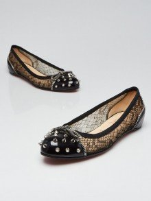 Christian Louboutin Black Patent Leather and Black Lace Candy Studded Flats Size 7/37.5