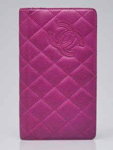Chanel Purple Quilted Caviar Leather CC Embroidered L Yen Wallet