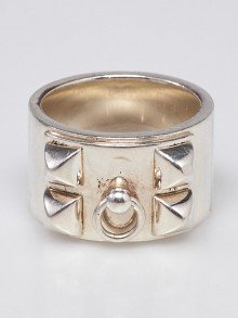 Hermes Sterling Silver Collier de Chien Ring Size 51/5