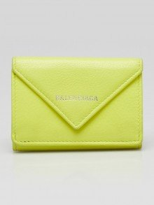 Balenciaga Neon Yellow Leather Papier Mini Wallet