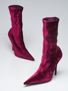 Balenciaga Purple Velvet Pointed Toe Knife Booties Size 7.5/38