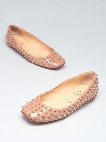 Christian Louboutin Beige Patent Leather Gozul Spikes Flats Size