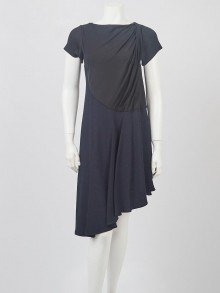 Balenciaga Black Rayon Blend Asymmetrical Dress Size 4/36
