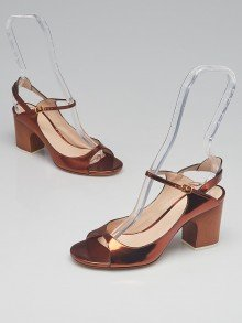 Chloe Bronze Patent Leather Peep-Toe Heels Size 5.5/36