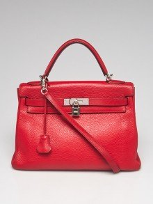 Hermes 32cm Rouge Casaque Clemence Leather Palladium Plated Kelly Retourne Bag