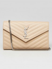 Yves Saint Laurent Beige Chevron Quilted Grained Leather Envelope Wallet on Chain Bag
