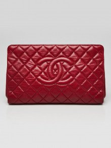 Chanel Red Quilted Caviar Leather CC Frame Top Clutch Bag