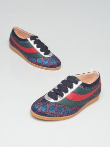 Gucci Blue/Red GG Falacer Lurex Web Sneakers Size 6/36.5