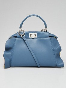 Fendi Blue Nappa Leather Peekaboo Wave Satchel Bag 8BN244