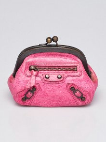 Balenciaga Pink Lambskin Leather Classic Click Coin Purse