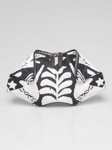 Alexander McQueen Black/White Unicorn Printed Silk De Manta Clutch Bag
