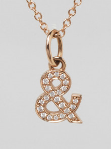 Tiffany & Co. 18k Pink Gold and Diamond Ampersand Pendant Necklace