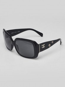 Chanel Black Frame Quilted CC Crystal Sunglasses-5149