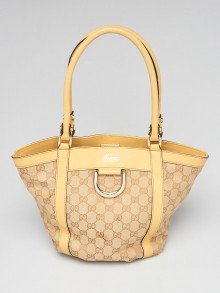 Gucci Beige/Yellow GG Canvas D-Ring Tote Bag