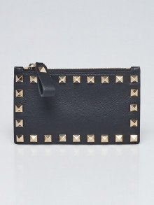 Valentino Black Leather Rockstud Card Case/Coin Purse Wallet
