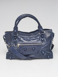 Balenciaga Marine Leather Giant Brogues Covered Motorcycle City Bag