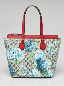 Gucci Beige/Blue/Red GG Supreme Coated Canvas and Leather Blooms Tote Bag