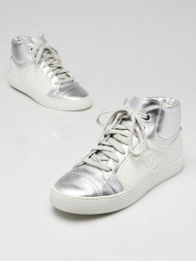 Chanel White/Silver Leather/Rubber High Top Sneakers Size 5.5/36