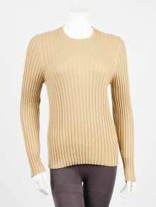 Gucci Camel Wool/Silk Ribbed Sweater Size S