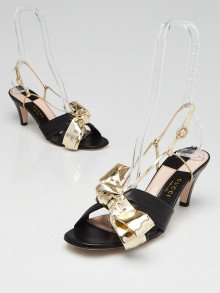Gucci Metallic Gold/Black Leather Daphne Bow Mid Heel Sandals Size 7.5/38