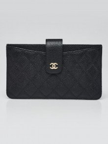 Chanel Black Quilted Caviar Leather Classic Strap Pouch