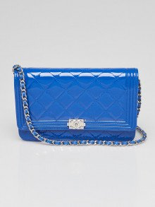 Chanel Blue Quilted Patent Leather Boy WOC Clutch Bag