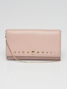 Valentino Beige Smooth Leather Love Stud Wallet On Chain Bag