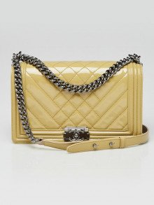 Chanel Beige Quilted Patent Leather New Medium Boy Bag