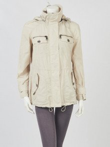Burberry Beige Polyester Zip Front Hooded Rain Jacket Size S