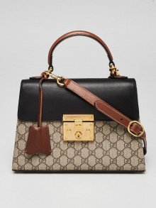 Gucci Beige/Ebony GG Supreme Coated Canvas and Leather Signature Padlock Small Top Handle Bag